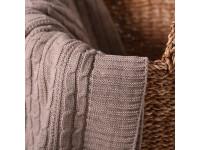 Плед вязаный «Косы» цвет светлый лен