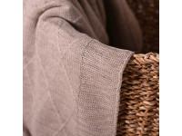 Плед вязаный «Ромб» цвет светлый лен