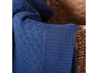 Плед вязаный «Соты» цвет джинс